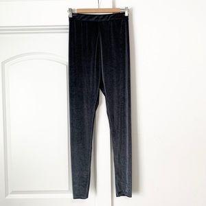 Zara Velvet Dark Gray Leggings NWT